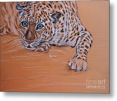 Metal Print featuring the pastel Leopard 2 by Amanda Dinan