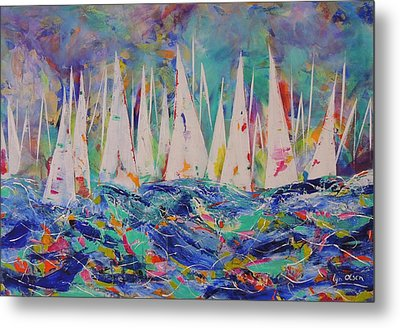 Metal Print featuring the painting Let The Race Begin by Lyn Olsen
