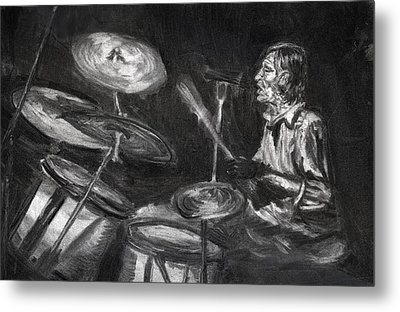 Metal Print featuring the drawing Levon Helm In Charcoal by Denny Morreale