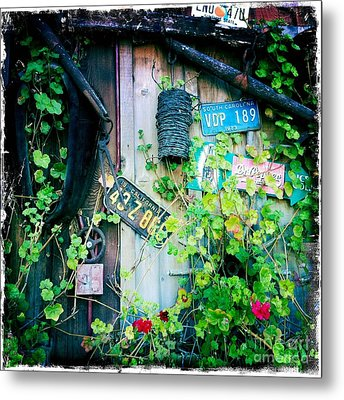 Metal Print featuring the photograph License Plate Wall by Nina Prommer