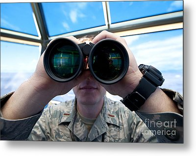 Lieutenant Uses Binoculars To Scan Metal Print by Stocktrek Images