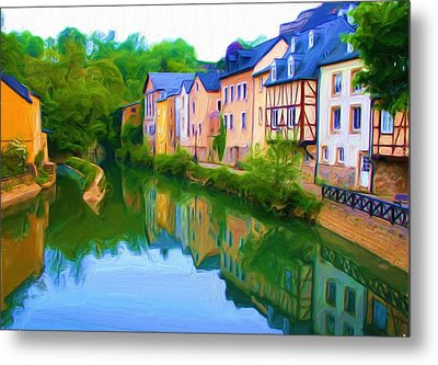 Metal Print featuring the digital art Life Along The Alzette River by Dennis Lundell
