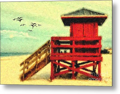 Metal Print featuring the photograph Life Guard Station by Gina Cormier