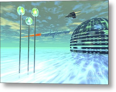 Life Under Domes On An Alien Waterworld Metal Print by Corey Ford