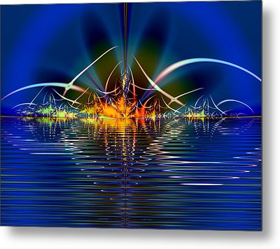 Metal Print featuring the digital art Light On The Water by Mario Carini