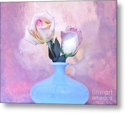 Light Pink Tipped Roses Metal Print by Marsha Heiken
