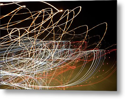 Light Trails At Night Metal Print by Frederick Bass
