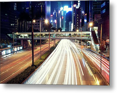 Light Trails At Traffic On Street At Night Metal Print by Thank you for choosing my work.