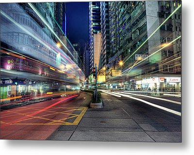 Light Trails On Street At Night Metal Print by Thank you for choosing my work.