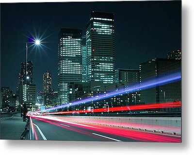 Light Trails On The Street In Tokyo Metal Print by >>>>sample Image>>>>>>>>>>>>>>