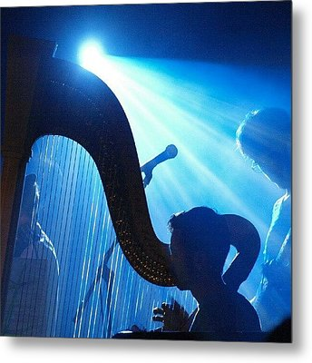 Lighted Harp Metal Print by James Granberry