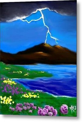 Lightening Metal Print by Angela Stout
