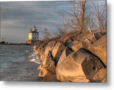 Lighthouse And Breakwall In Evening Light Metal Print by At Lands End Photography