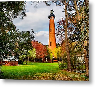 Lighthouse At Currituck Beach Metal Print by Nick Zelinsky