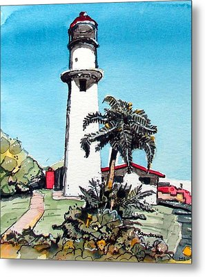 Metal Print featuring the painting Lighthouse At Diamond Head by Terry Banderas