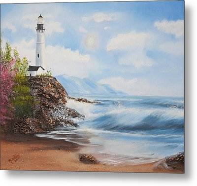 Lighthouse By The Sea Metal Print