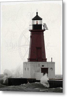 Lighthouse Compass Metal Print
