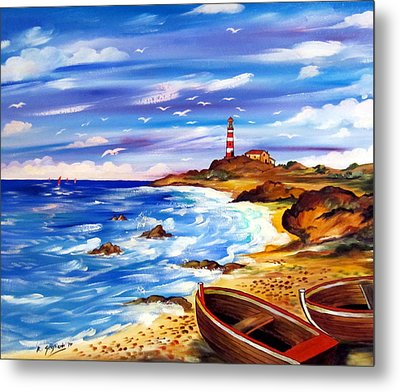 Metal Print featuring the painting Lighthouse Island by Roberto Gagliardi