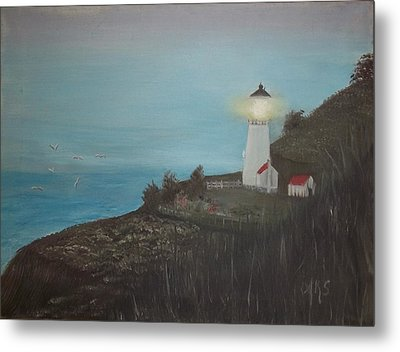 Lighthouse With Birds Metal Print by Angela Stout