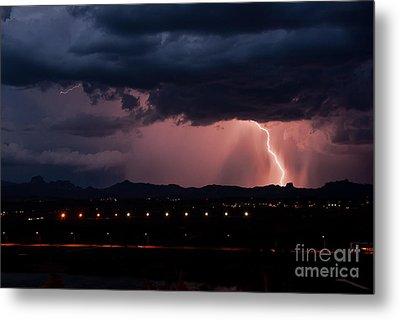 Lightning Strike Metal Print by Eddie Yerkish