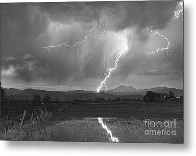 Lightning Striking Longs Peak Foothills 2bw Metal Print by James BO  Insogna