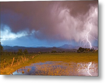 Lightning Striking Longs Peak Foothills 7 Metal Print by James BO  Insogna