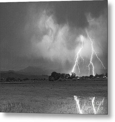 Lightning Striking Longs Peak Foothills 8cbw Metal Print by James BO  Insogna