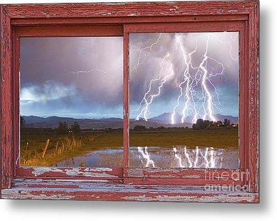 Lightning Striking Longs Peak Red Rustic Picture Window Frame Metal Print by James BO  Insogna