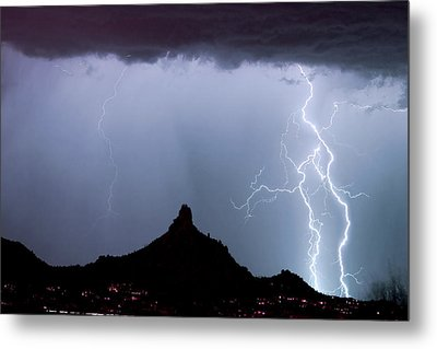 Lightning Thunderstorm At Pinnacle Peak Metal Print