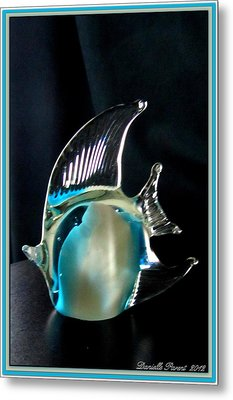 Lights And Glass Study 1  Blue Fish Metal Print by Danielle  Parent