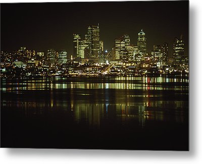 Lights Of Downtown Seattle Reflect Metal Print by Gordon Wiltsie