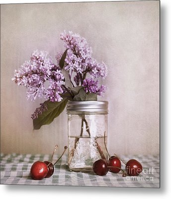 Lilac And Cherries Metal Print by Priska Wettstein