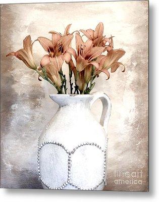 Lilies Pitcher Metal Print by Marsha Heiken
