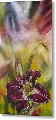 Lily In Red Metal Print by Alfred Ng