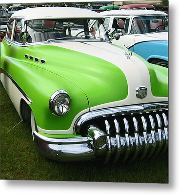 Lime Green 1950s Buick Metal Print by Kym Backland