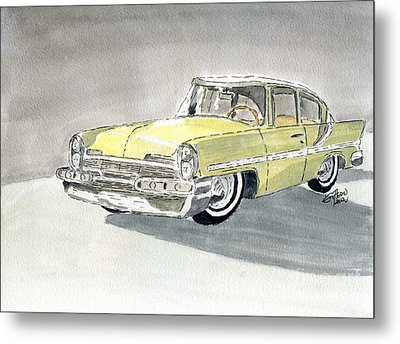 Metal Print featuring the painting Lincoln Capri 1957 by Eva Ason