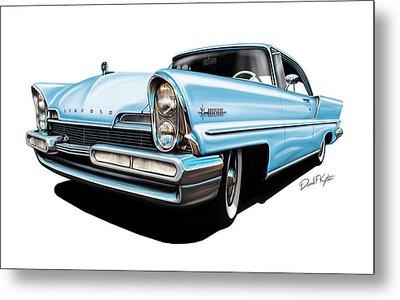 Lincoln Premier In Baby Blue Metal Print by David Kyte