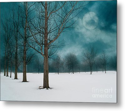 Line Of Trees Border A Snowy Field With A Rising Moon In A Cloudy Sky.  Metal Print by Emilio Lovisa