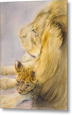 Metal Print featuring the painting Lion And Cub by Bonnie Rinier