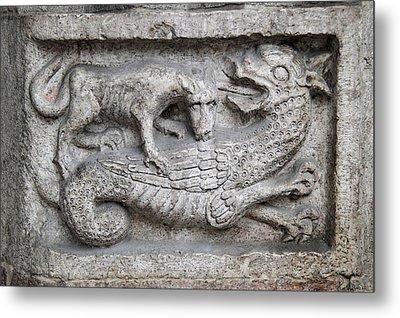 Lion And Dragon Metal Print by Raffaella Lunelli