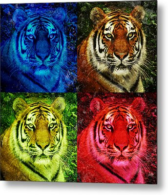 Lion Face Colored Squares Metal Print by Angela Waye