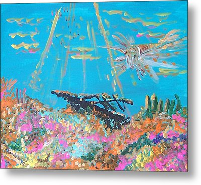 Lion Fish Among The Coral Metal Print by Renate Pampel