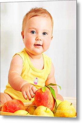 Little Baby Choosing Fruits Metal Print by Anna Om