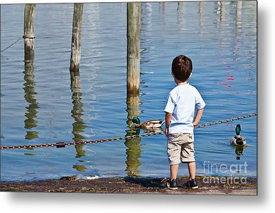 Little Boy By The Water Metal Print