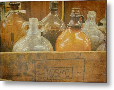 Little Brown Jugs Metal Print by Jan Amiss Photography