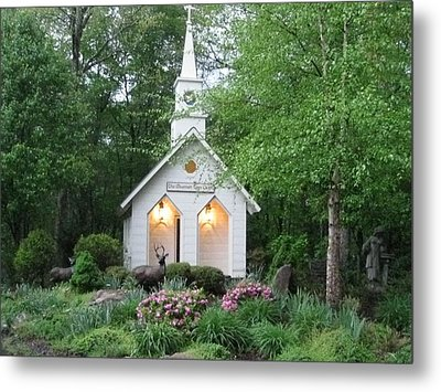 Little Church In The Mountains Metal Print by Kathy Long