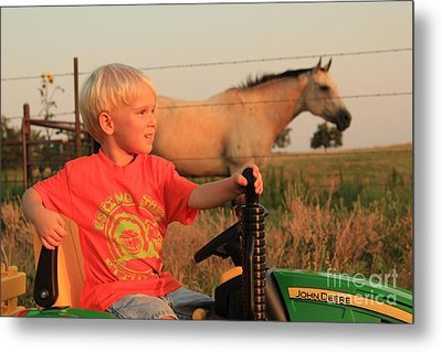 Little Farmer Metal Print by Anthony Johnson