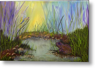 Little Frog Pond Metal Print by J Cheyenne Howell