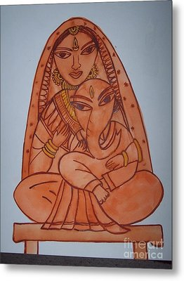 Little Ganesh And Parvati Metal Print by Anu Darbha