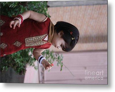 Little Girl With Flower Metal Print by Muhammad Junaid Rashid